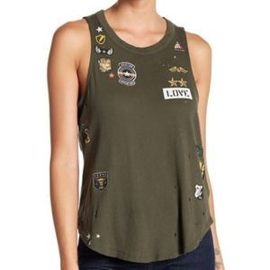 Chaser Major Love Patch Distressed Tank M NWT